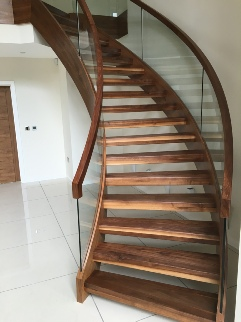 Glass staircases, Helical staircase, helical stairs, walnut helical staircase, walnut helical stairs: