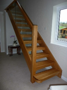 Glass stairs,Oak stairs,Oak staircase: