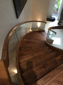 Walnut helical stairs, helical staircase: