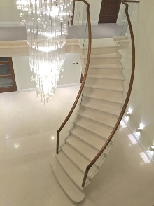 Stone staircases, stone stairs, cantilevered stone staircases, cantilevered stone stairs, post tensioned stone staircases: